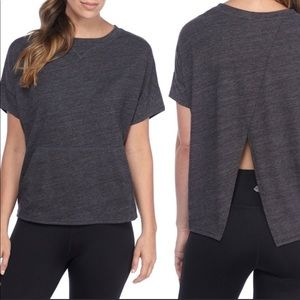 Zelos Gray spilt back Athleisure top size medium